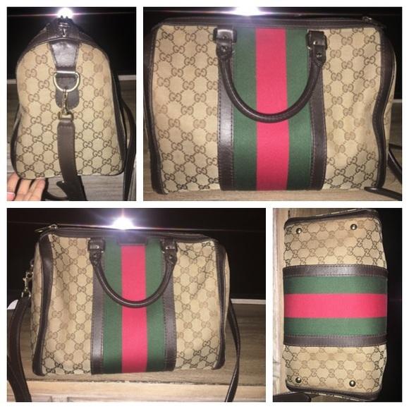 f34a56053f47 Gucci Handbags - Boston Webby Speedy6401Brown Canvas Cross Body Bag